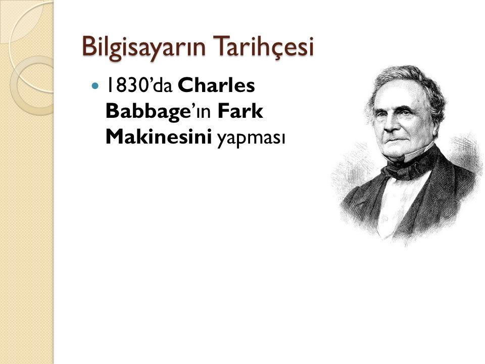 Bilgisayarın Tarihçesi 1830'da Charles Babbage'ın Fark Makinesini yapması