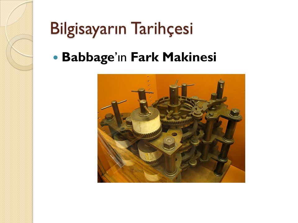 Bilgisayarın Tarihçesi Babbage'ın Fark Makinesi