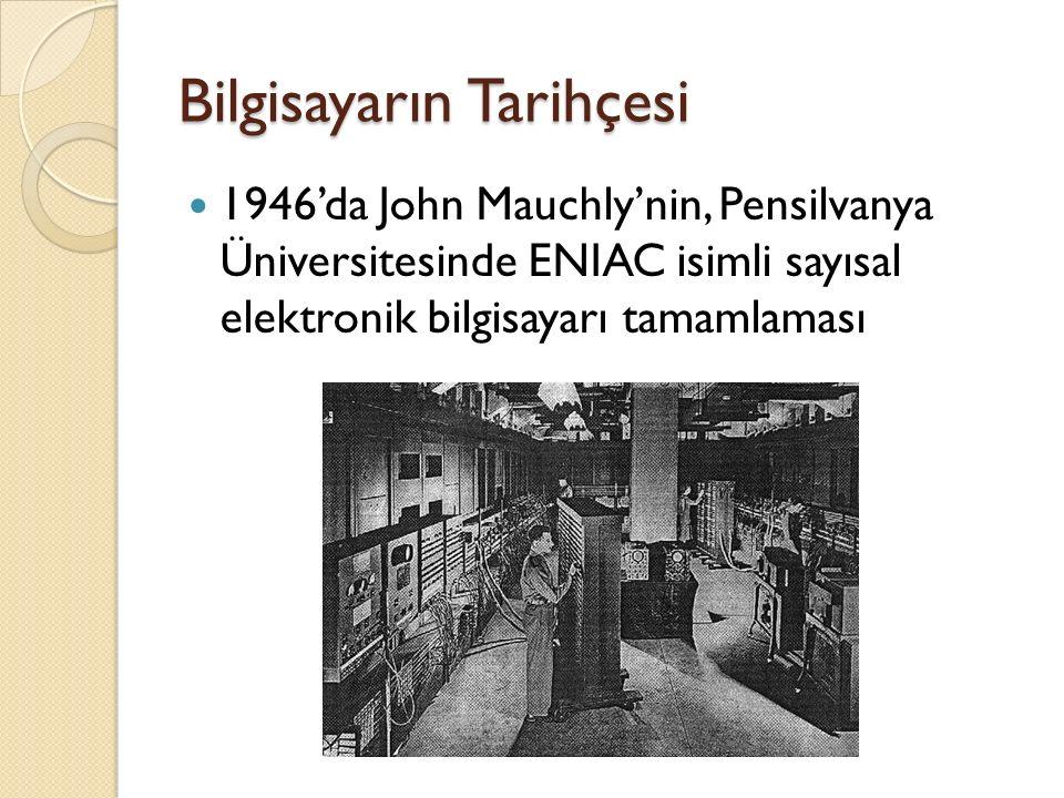 Bilgisayarın Tarihçesi 1946'da John Mauchly'nin, Pensilvanya Üniversitesinde ENIAC isimli sayısal elektronik bilgisayarı tamamlaması