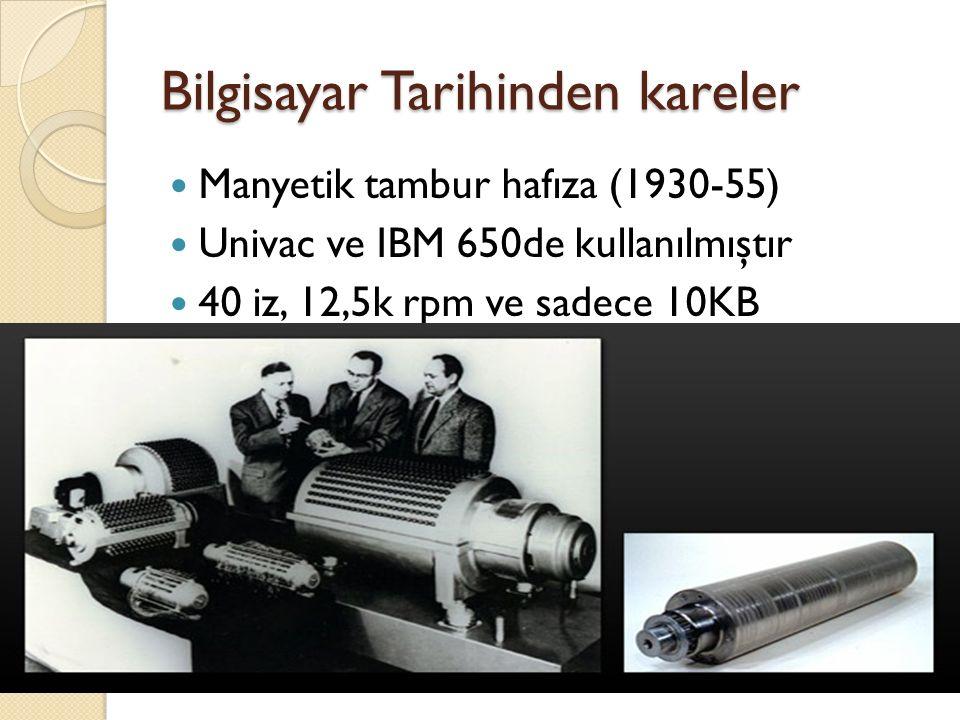 Manyetik tambur hafıza (1930-55) Univac ve IBM 650de kullanılmıştır 40 iz, 12,5k rpm ve sadece 10KB
