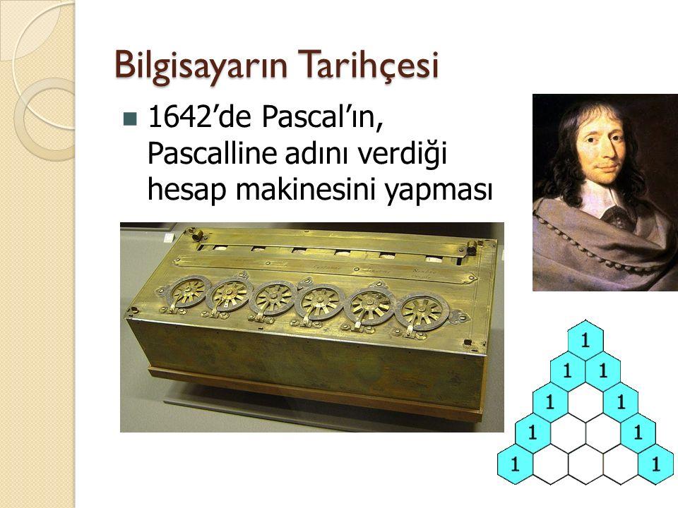 1642'de Pascal'ın, Pascalline adını verdiği hesap makinesini yapması