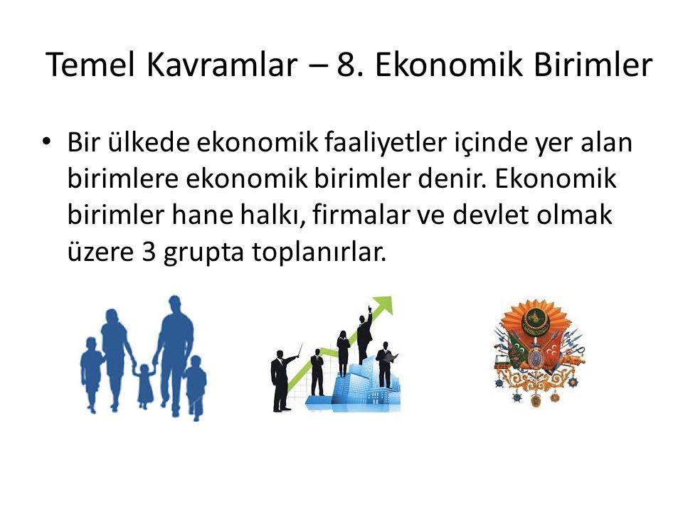 Temel Kavramlar – 8. Ekonomik Birimler Bir ülkede ekonomik faaliyetler içinde yer alan birimlere ekonomik birimler denir. Ekonomik birimler hane halkı