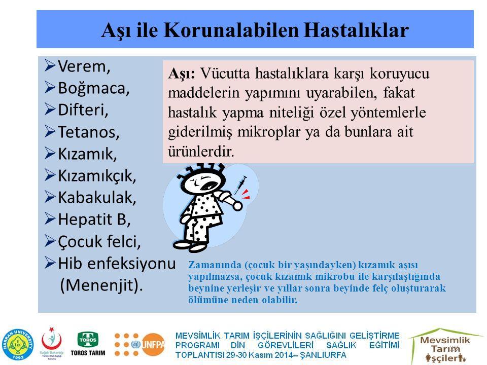 Aşı ile Korunalabilen Hastalıklar  Verem,  Boğmaca,  Difteri,  Tetanos,  Kızamık,  Kızamıkçık,  Kabakulak,  Hepatit B,  Çocuk felci,  Hib enfeksiyonu (Menenjit).