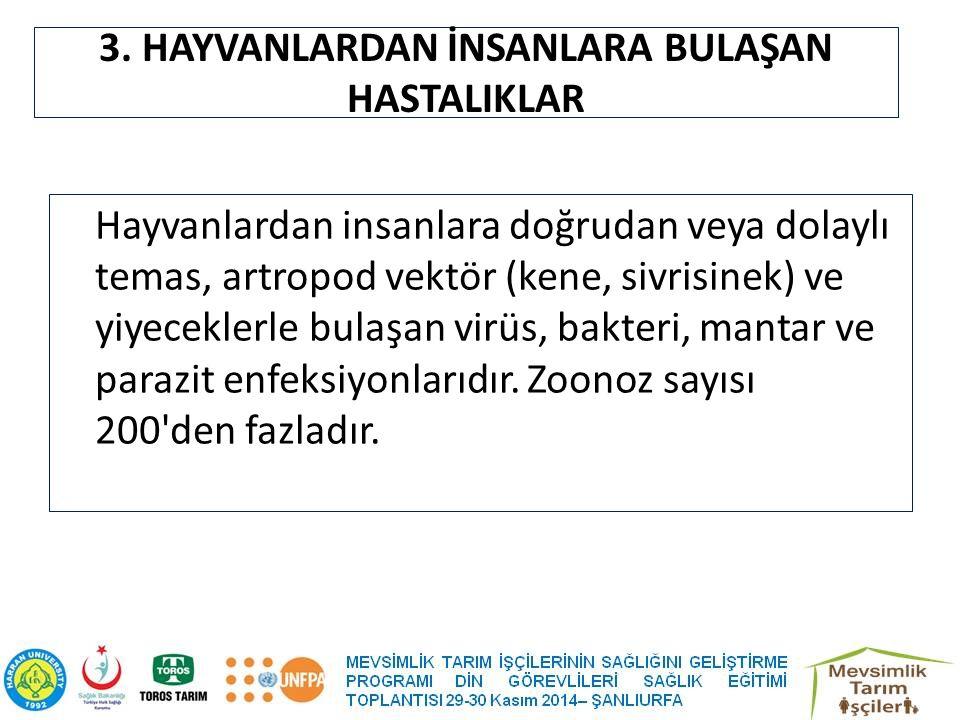 3. HAYVANLARDAN İNSANLARA BULAŞAN HASTALIKLAR Hayvanlardan insanlara doğrudan veya dolaylı temas, artropod vektör (kene, sivrisinek) ve yiyeceklerle b