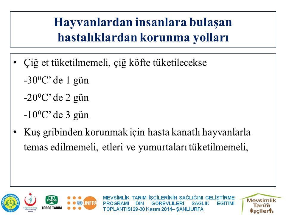 Hayvanlardan insanlara bulaşan hastalıklardan korunma yolları Çiğ et tüketilmemeli, çiğ köfte tüketilecekse -30 0 C' de 1 gün -20 0 C' de 2 gün -10 0 C' de 3 gün Kuş gribinden korunmak için hasta kanatlı hayvanlarla temas edilmemeli, etleri ve yumurtaları tüketilmemeli, 35