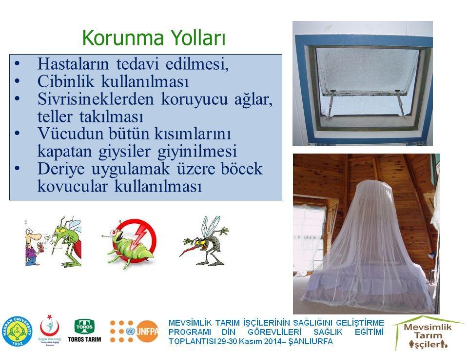 Korunma Yolları Hastaların tedavi edilmesi, Cibinlik kullanılması Sivrisineklerden koruyucu ağlar, teller takılması Vücudun bütün kısımlarını kapatan