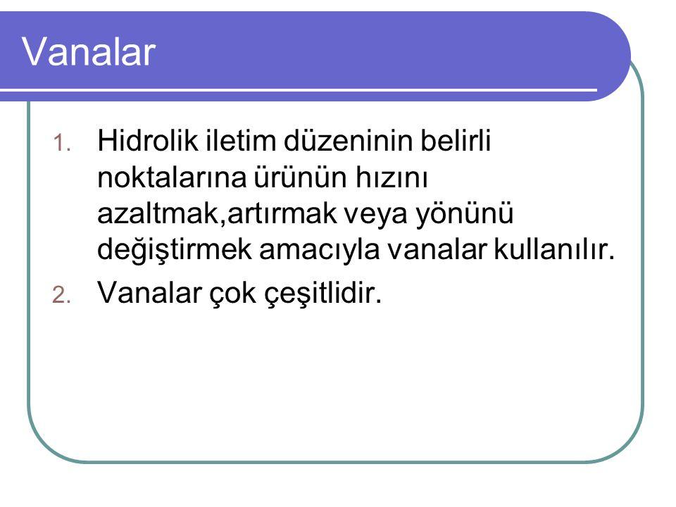 Vanalar 1. Hidrolik iletim düzeninin belirli noktalarına ürünün hızını azaltmak,artırmak veya yönünü değiştirmek amacıyla vanalar kullanılır. 2. Vanal