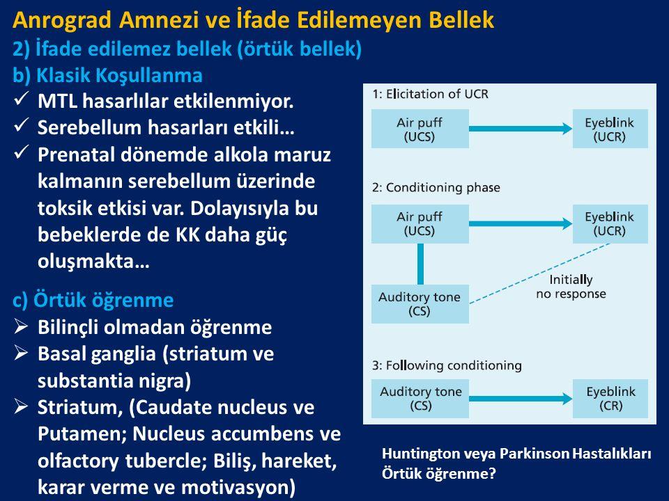 Anrograd Amnezi ve İfade Edilemeyen Bellek 2) İfade edilemez bellek (örtük bellek) b) Klasik Koşullanma MTL hasarlılar etkilenmiyor. Serebellum hasarl