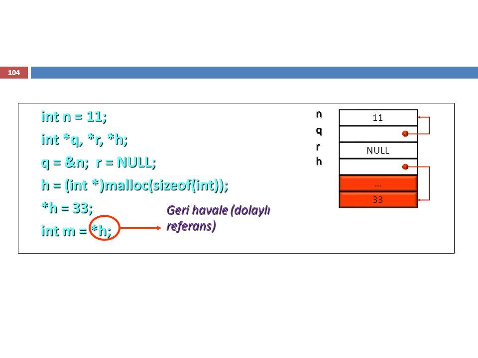 104 int n = 11; int *q, *r, *h; q = &n; r = NULL; h = (int *)malloc(sizeof(int)); *h = 33; int m = *h; 11 n NULL q r … 33h Geri havale (dolaylı referans)