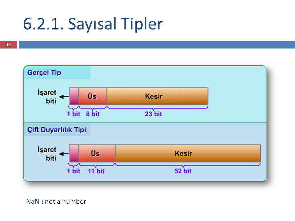 6.2.1. Sayısal Tipler 11 NaN : not a number