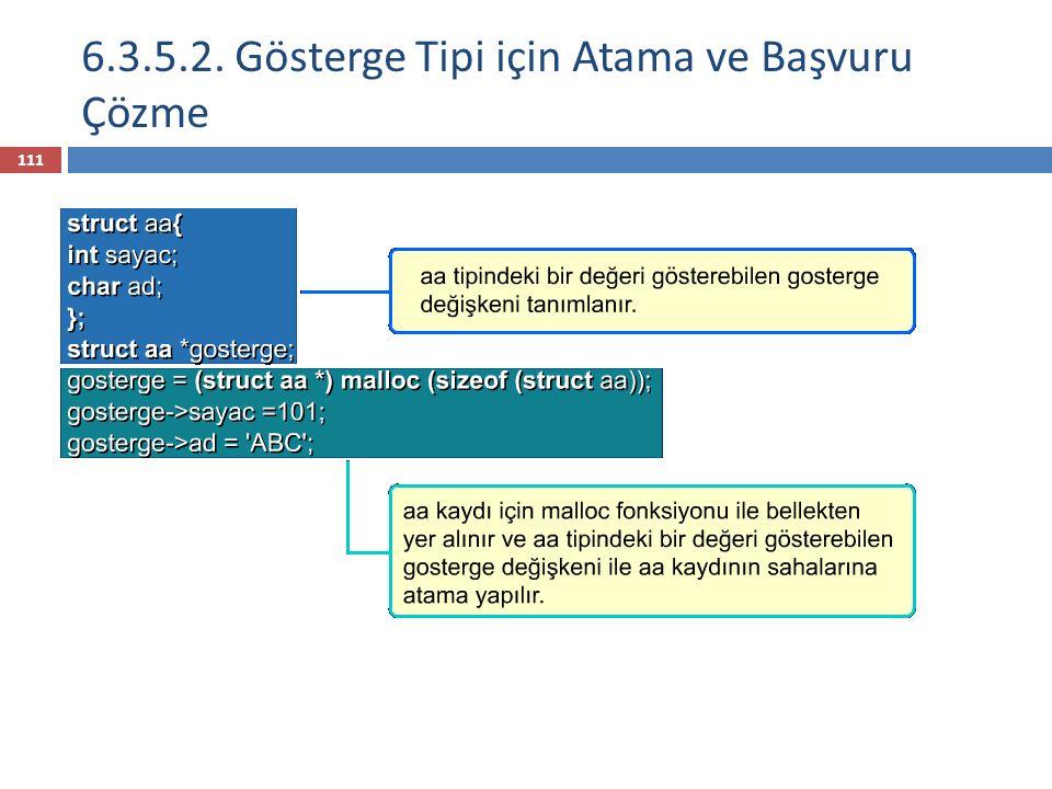 6.3.5.2. Gösterge Tipi için Atama ve Başvuru Çözme 111
