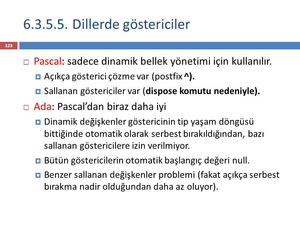 6.3.5.5. Dillerde göstericiler 123  Pascal: sadece dinamik bellek yönetimi için kullanılır.