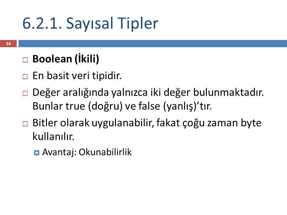 14  Boolean (İkili)  En basit veri tipidir.  Değer aralığında yalnızca iki değer bulunmaktadır.