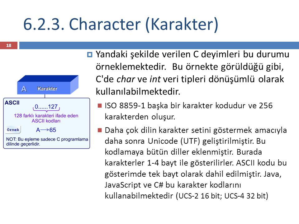 6.2.3. Character (Karakter)  Yandaki şekilde verilen C deyimleri bu durumu örneklemektedir.