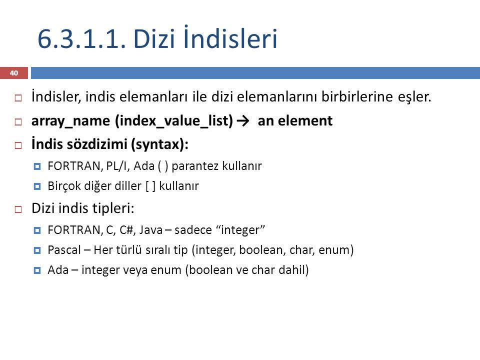 6.3.1.1. Dizi İndisleri 40  İndisler, indis elemanları ile dizi elemanlarını birbirlerine eşler.
