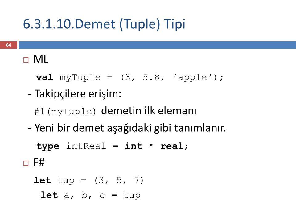 6.3.1.10.Demet (Tuple) Tipi  ML val myTuple = (3, 5.8, ′apple′); - Takipçilere erişim: #1(myTuple) demetin ilk elemanı - Yeni bir demet aşağıdaki gibi tanımlanır.