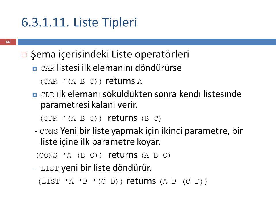  Şema içerisindeki Liste operatörleri  CAR listesi ilk elemanını döndürürse (CAR ′(A B C)) returns A  CDR ilk elemanı söküldükten sonra kendi listesinde parametresi kalanı verir.