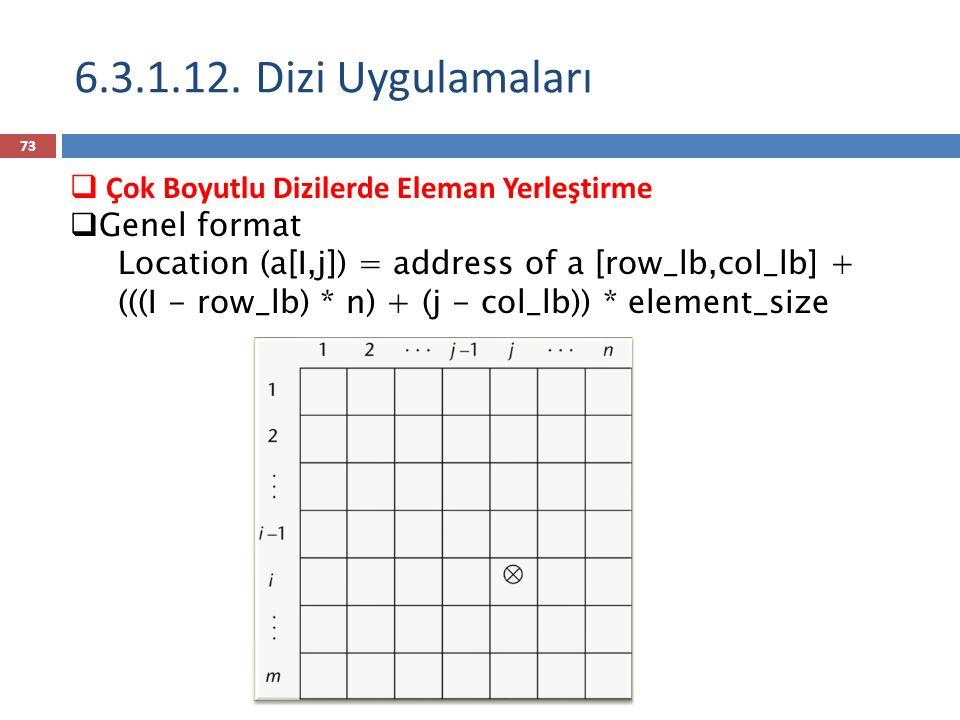  Çok Boyutlu Dizilerde Eleman Yerleştirme  Genel format Location (a[I,j]) = address of a [row_lb,col_lb] + (((I - row_lb) * n) + (j - col_lb)) * element_size 6.3.1.12.