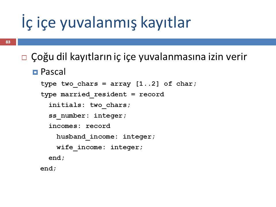İç içe yuvalanmış kayıtlar 83  Çoğu dil kayıtların iç içe yuvalanmasına izin verir  Pascal type two_chars = array [1..2] of char; type married_resident = record initials: two_chars; ss_number: integer; incomes: record husband_income: integer; wife_income: integer; end;