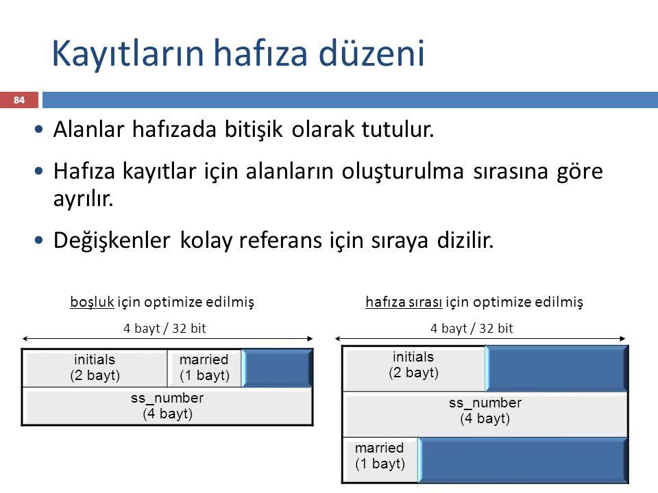 Kayıtların hafıza düzeni initials (2 bayt) married (1 bayt) ss_number (4 bayt) Alanlar hafızada bitişik olarak tutulur.