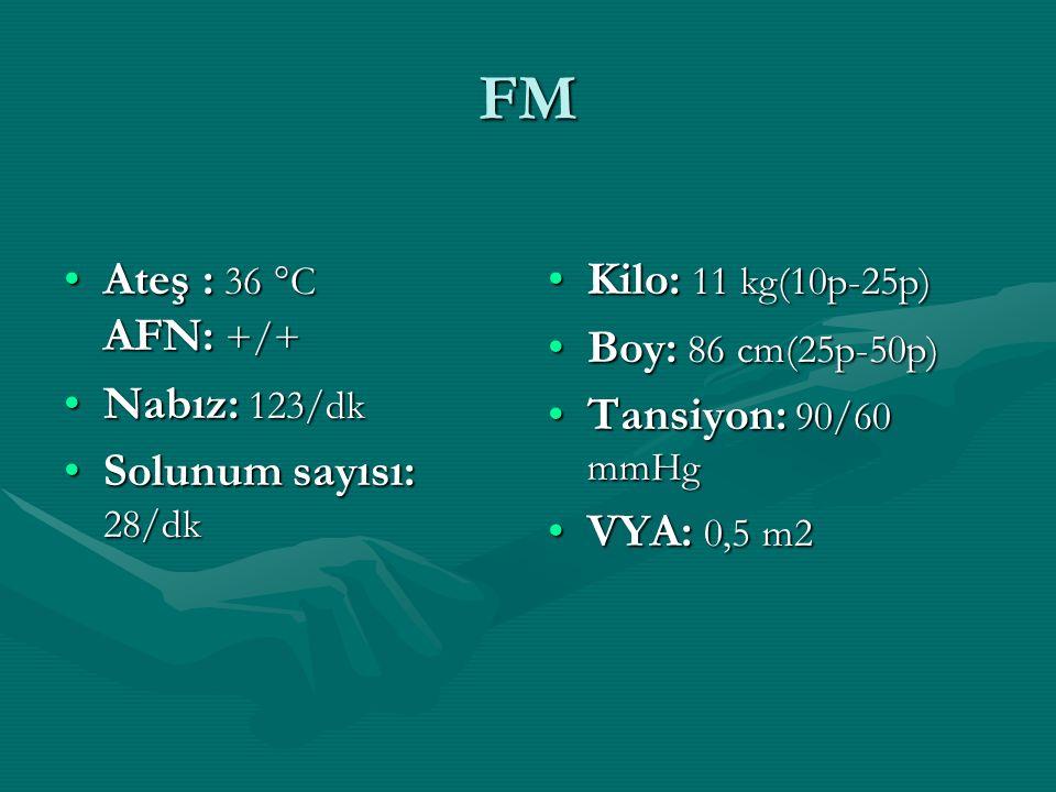 FM Ateş : 36 °C AFN: +/+Ateş : 36 °C AFN: +/+ Nabız: 123/dkNabız: 123/dk Solunum sayısı: 28/dkSolunum sayısı: 28/dk Kilo: 11 kg(10p-25p) Boy: 86 cm(25p-50p) Tansiyon: 90/60 mmHg VYA: 0,5 m2