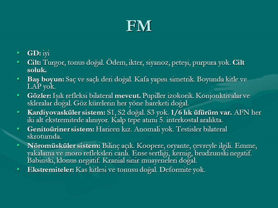 FM GD: iyiGD: iyi Cilt: Turgor, tonus doğal. Ödem, ikter, siyanoz, peteşi, purpura yok. Cilt soluk.Cilt: Turgor, tonus doğal. Ödem, ikter, siyanoz, pe