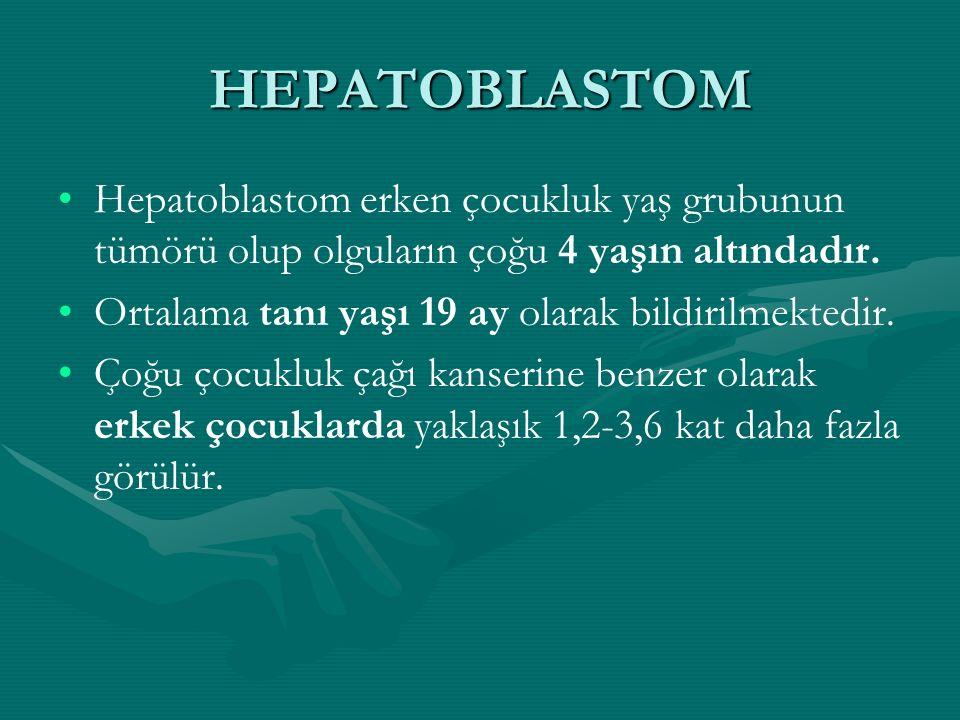 HEPATOBLASTOM Hepatoblastom erken çocukluk yaş grubunun tümörü olup olguların çoğu 4 yaşın altındadır.