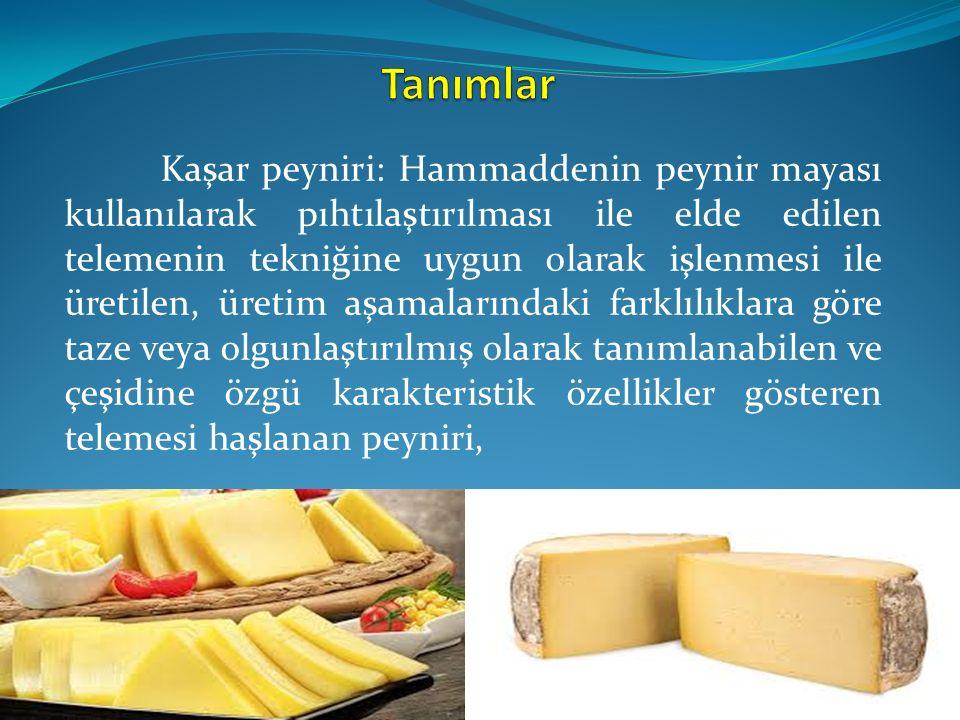 Kaşar peyniri: Hammaddenin peynir mayası kullanılarak pıhtılaştırılması ile elde edilen telemenin tekniğine uygun olarak işlenmesi ile üretilen, üreti