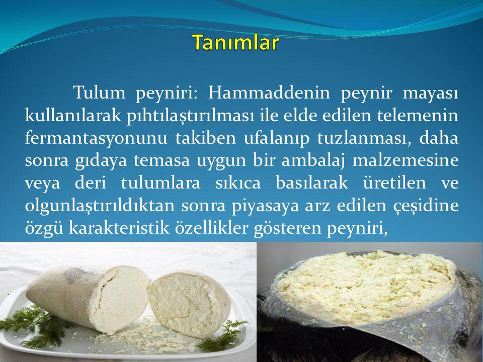 Tulum peyniri: Hammaddenin peynir mayası kullanılarak pıhtılaştırılması ile elde edilen telemenin fermantasyonunu takiben ufalanıp tuzlanması, daha so