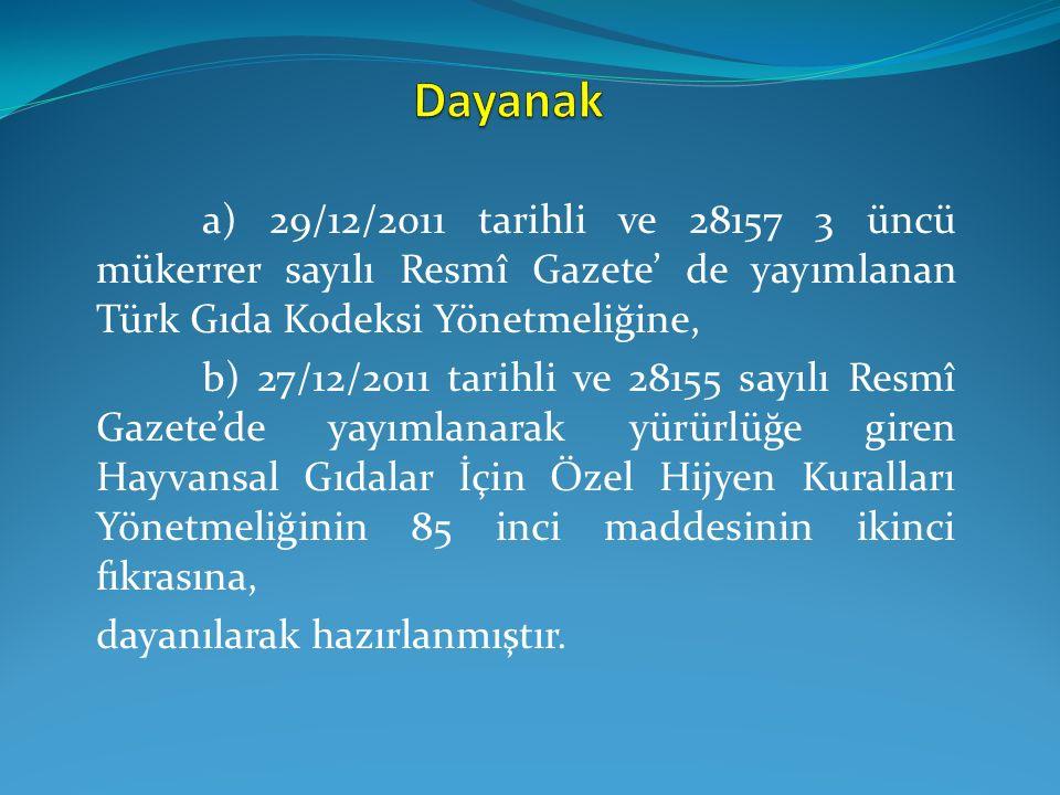 a) 29/12/2011 tarihli ve 28157 3 üncü mükerrer sayılı Resmî Gazete' de yayımlanan Türk Gıda Kodeksi Yönetmeliğine, b) 27/12/2011 tarihli ve 28155 sayı