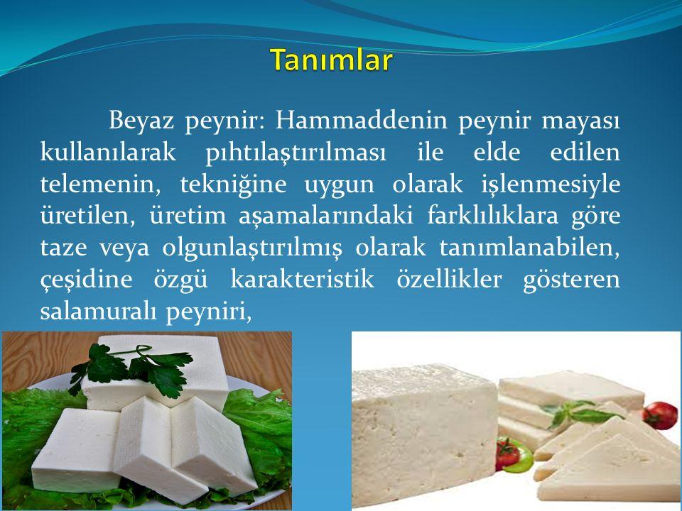 Beyaz peynir: Hammaddenin peynir mayası kullanılarak pıhtılaştırılması ile elde edilen telemenin, tekniğine uygun olarak işlenmesiyle üretilen, üretim