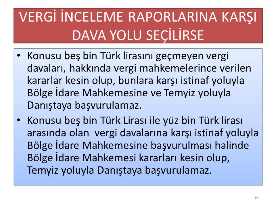 VERGİ İNCELEME RAPORLARINA KARŞI DAVA YOLU SEÇİLİRSE Konusu beş bin Türk lirasını geçmeyen vergi davaları, hakkında vergi mahkemelerince verilen karar