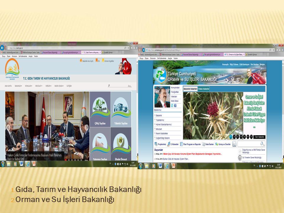 1. Gıda, Tarım ve Hayvancılık Bakanlığı 2. Orman ve Su İşleri Bakanlığı