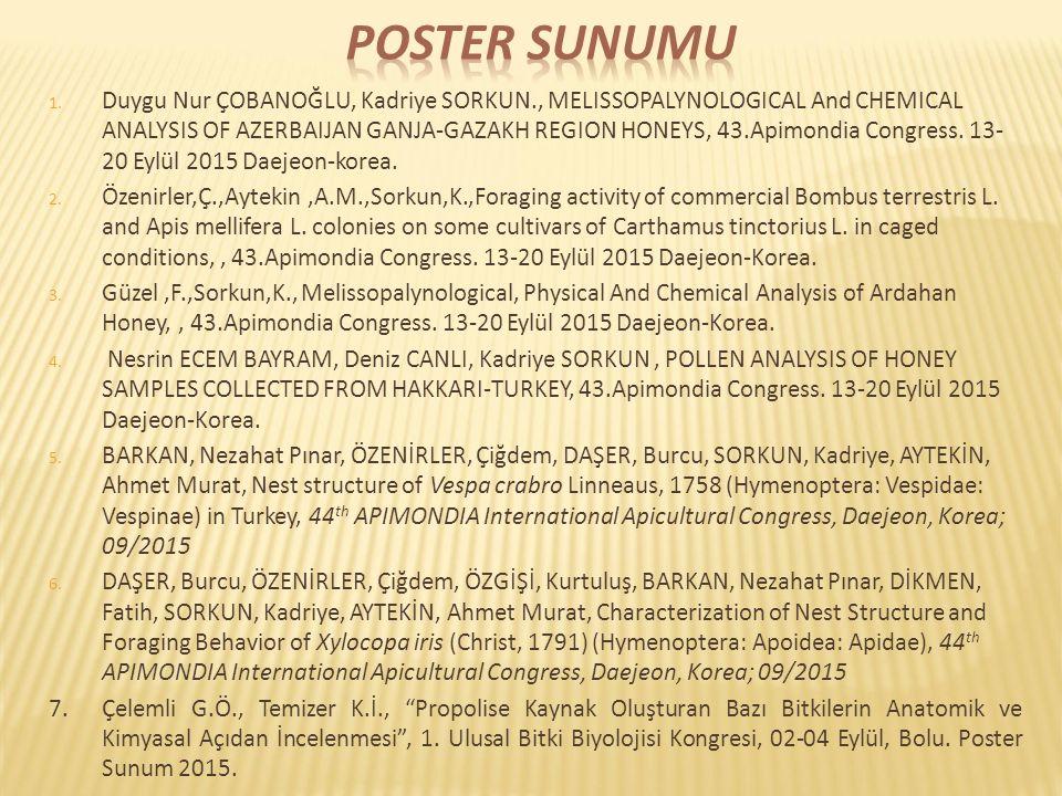 1. Duygu Nur ÇOBANOĞLU, Kadriye SORKUN., MELISSOPALYNOLOGICAL And CHEMICAL ANALYSIS OF AZERBAIJAN GANJA-GAZAKH REGION HONEYS, 43.Apimondia Congress. 1