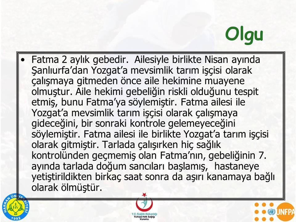 Olgu Fatma 2 aylık gebedir. Ailesiyle birlikte Nisan ayında Şanlıurfa'dan Yozgat'a mevsimlik tarım işçisi olarak çalışmaya gitmeden önce aile hekimine