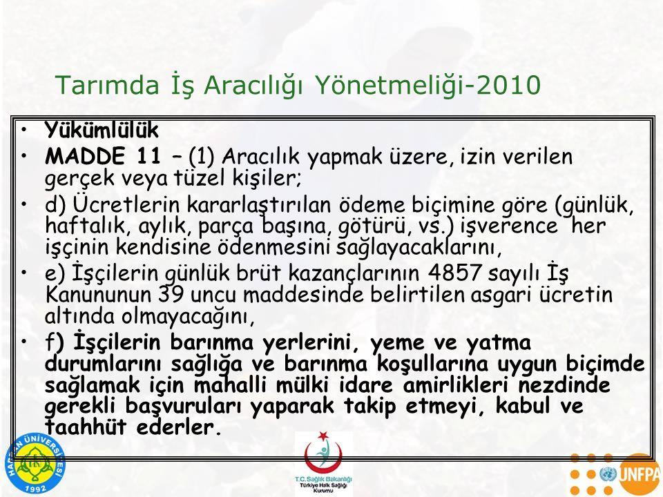 Tarımda İş Aracılığı Yönetmeliği-2010 Yükümlülük MADDE 11 – (1) Aracılık yapmak üzere, izin verilen gerçek veya tüzel kişiler; d) Ücretlerin kararlaşt