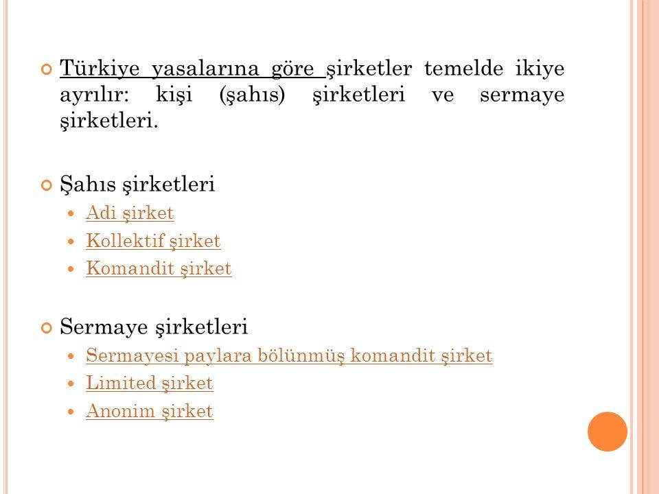 Türkiye yasalarına göre şirketler temelde ikiye ayrılır: kişi (şahıs) şirketleri ve sermaye şirketleri. Şahıs şirketleri Adi şirket Adi şirket Kollekt