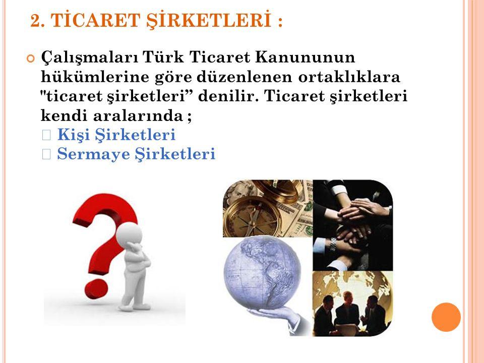 2. TİCARET ŞİRKETLERİ : Çalışmaları Türk Ticaret Kanununun hükümlerine göre düzenlenen ortaklıklara