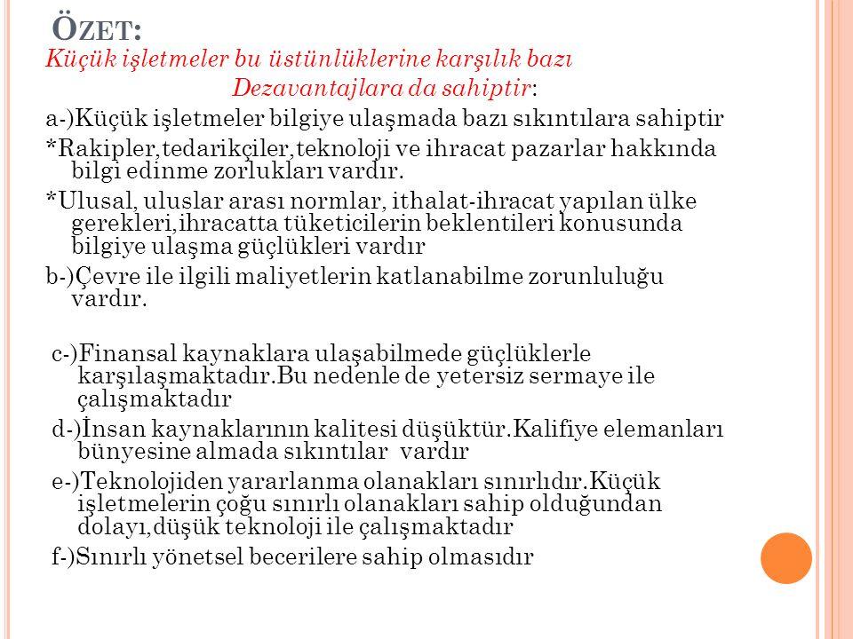 KOBİ'LERİN FAALİYET ALANLARI 1.