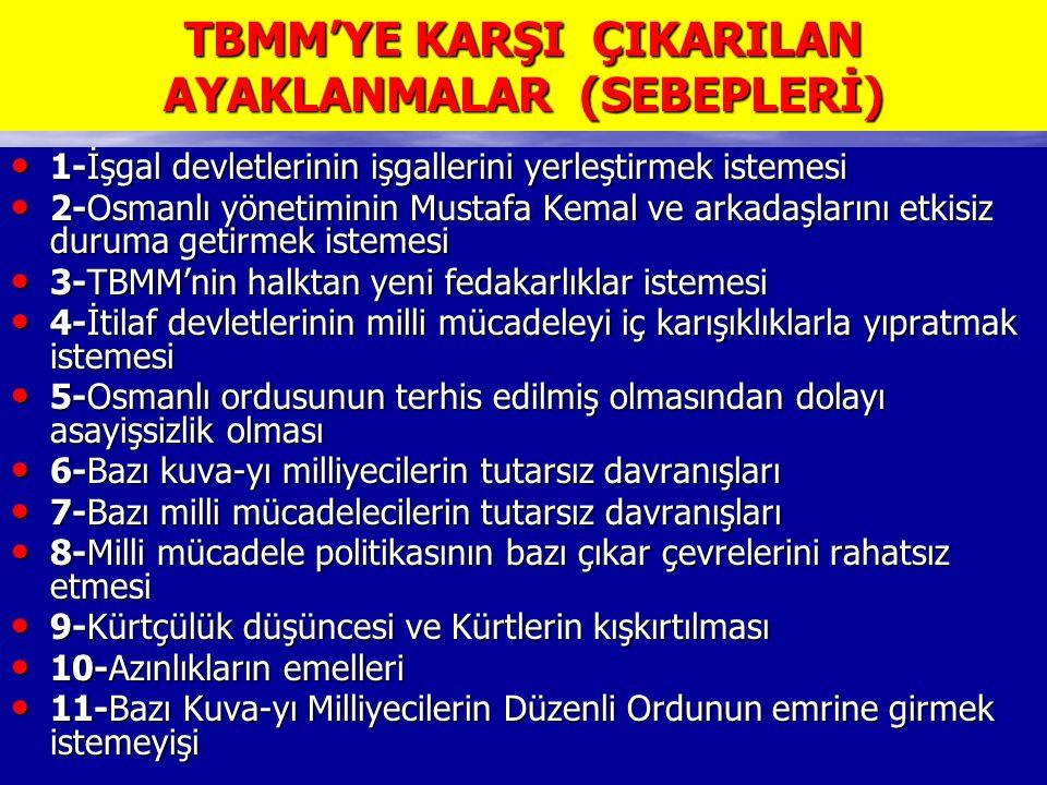 TBMM'YE KARŞI ÇIKARILAN AYAKLANMALAR (SEBEPLERİ) 1-İşgal devletlerinin işgallerini yerleştirmek istemesi 1-İşgal devletlerinin işgallerini yerleştirmek istemesi 2-Osmanlı yönetiminin Mustafa Kemal ve arkadaşlarını etkisiz duruma getirmek istemesi 2-Osmanlı yönetiminin Mustafa Kemal ve arkadaşlarını etkisiz duruma getirmek istemesi 3-TBMM'nin halktan yeni fedakarlıklar istemesi 3-TBMM'nin halktan yeni fedakarlıklar istemesi 4-İtilaf devletlerinin milli mücadeleyi iç karışıklıklarla yıpratmak istemesi 4-İtilaf devletlerinin milli mücadeleyi iç karışıklıklarla yıpratmak istemesi 5-Osmanlı ordusunun terhis edilmiş olmasından dolayı asayişsizlik olması 5-Osmanlı ordusunun terhis edilmiş olmasından dolayı asayişsizlik olması 6-Bazı kuva-yı milliyecilerin tutarsız davranışları 6-Bazı kuva-yı milliyecilerin tutarsız davranışları 7-Bazı milli mücadelecilerin tutarsız davranışları 7-Bazı milli mücadelecilerin tutarsız davranışları 8-Milli mücadele politikasının bazı çıkar çevrelerini rahatsız etmesi 8-Milli mücadele politikasının bazı çıkar çevrelerini rahatsız etmesi 9-Kürtçülük düşüncesi ve Kürtlerin kışkırtılması 9-Kürtçülük düşüncesi ve Kürtlerin kışkırtılması 10-Azınlıkların emelleri 10-Azınlıkların emelleri 11-Bazı Kuva-yı Milliyecilerin Düzenli Ordunun emrine girmek istemeyişi 11-Bazı Kuva-yı Milliyecilerin Düzenli Ordunun emrine girmek istemeyişi