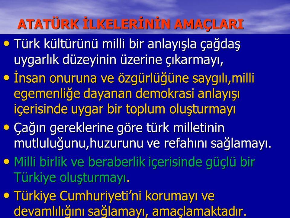 ATATÜRK İLKELERİNİN AMAÇLARI Türk kültürünü milli bir anlayışla çağdaş uygarlık düzeyinin üzerine çıkarmayı, Türk kültürünü milli bir anlayışla çağdaş uygarlık düzeyinin üzerine çıkarmayı, İnsan onuruna ve özgürlüğüne saygılı,milli egemenliğe dayanan demokrasi anlayışı içerisinde uygar bir toplum oluşturmayı İnsan onuruna ve özgürlüğüne saygılı,milli egemenliğe dayanan demokrasi anlayışı içerisinde uygar bir toplum oluşturmayı Çağın gereklerine göre türk milletinin mutluluğunu,huzurunu ve refahını sağlamayı.