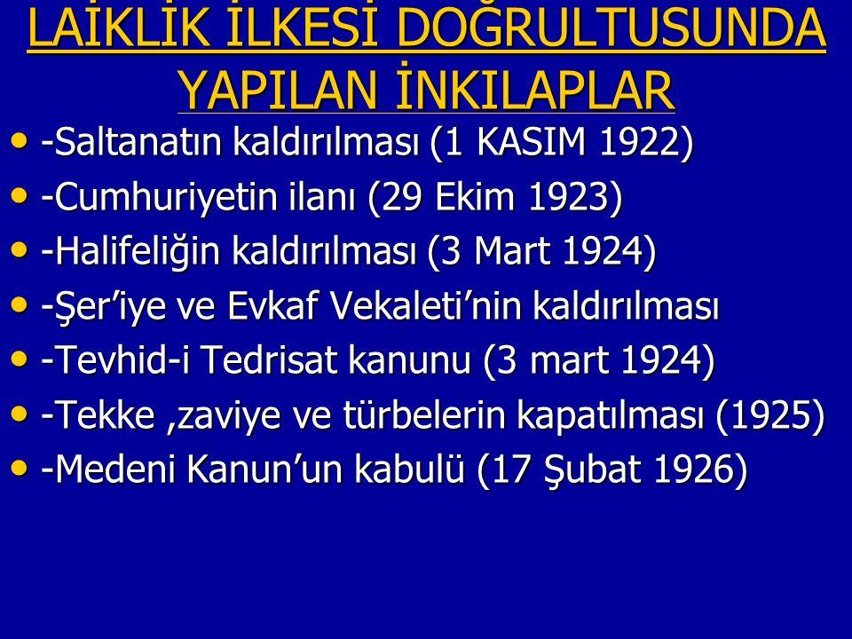 LAİKLİK İLKESİ DOĞRULTUSUNDA YAPILAN İNKILAPLAR LAİKLİK İLKESİ DOĞRULTUSUNDA YAPILAN İNKILAPLAR -Saltanatın kaldırılması (1 KASIM 1922) -Saltanatın kaldırılması (1 KASIM 1922) -Cumhuriyetin ilanı (29 Ekim 1923) -Cumhuriyetin ilanı (29 Ekim 1923) -Halifeliğin kaldırılması (3 Mart 1924) -Halifeliğin kaldırılması (3 Mart 1924) -Şer'iye ve Evkaf Vekaleti'nin kaldırılması -Şer'iye ve Evkaf Vekaleti'nin kaldırılması -Tevhid-i Tedrisat kanunu (3 mart 1924) -Tevhid-i Tedrisat kanunu (3 mart 1924) -Tekke,zaviye ve türbelerin kapatılması (1925) -Tekke,zaviye ve türbelerin kapatılması (1925) -Medeni Kanun'un kabulü (17 Şubat 1926) -Medeni Kanun'un kabulü (17 Şubat 1926)
