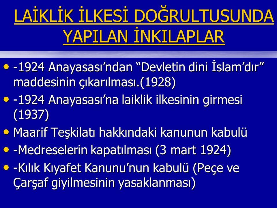 LAİKLİK İLKESİ DOĞRULTUSUNDA YAPILAN İNKILAPLAR LAİKLİK İLKESİ DOĞRULTUSUNDA YAPILAN İNKILAPLAR -1924 Anayasası'ndan Devletin dini İslam'dır maddesinin çıkarılması.(1928) -1924 Anayasası'ndan Devletin dini İslam'dır maddesinin çıkarılması.(1928) -1924 Anayasası'na laiklik ilkesinin girmesi (1937) -1924 Anayasası'na laiklik ilkesinin girmesi (1937) Maarif Teşkilatı hakkındaki kanunun kabulü Maarif Teşkilatı hakkındaki kanunun kabulü -Medreselerin kapatılması (3 mart 1924) -Medreselerin kapatılması (3 mart 1924) -Kılık Kıyafet Kanunu'nun kabulü (Peçe ve Çarşaf giyilmesinin yasaklanması) -Kılık Kıyafet Kanunu'nun kabulü (Peçe ve Çarşaf giyilmesinin yasaklanması)
