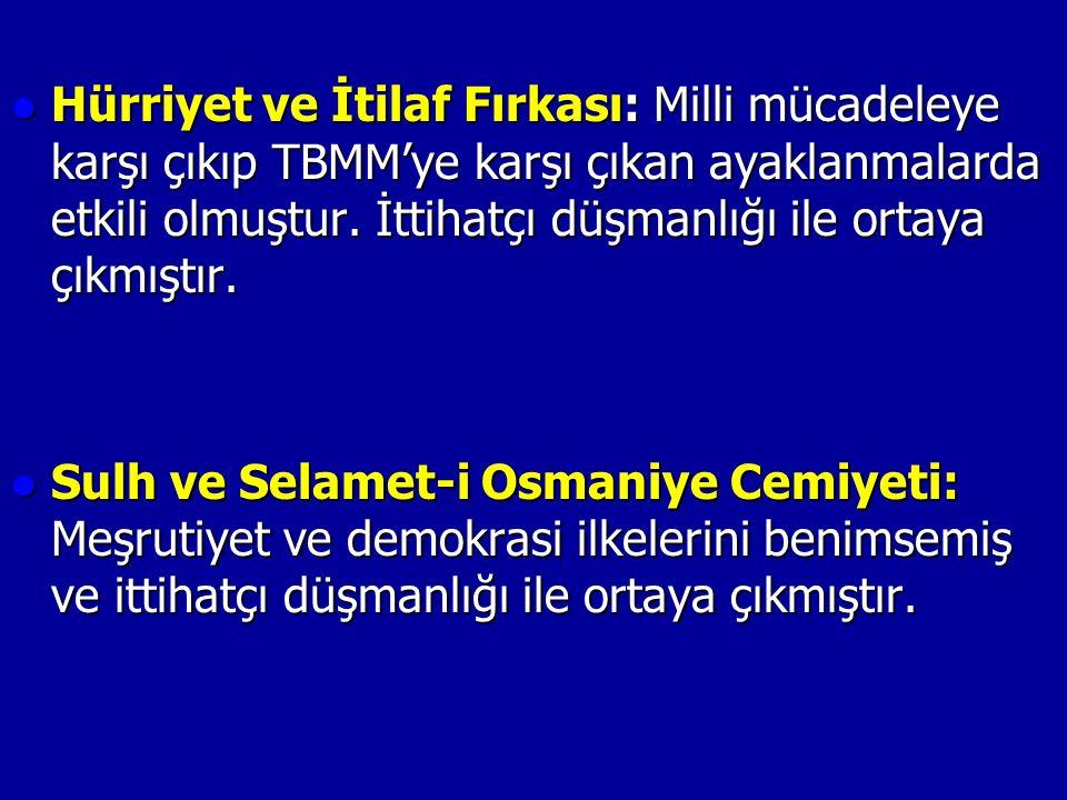 Hürriyet ve İtilaf Fırkası: Milli mücadeleye karşı çıkıp TBMM'ye karşı çıkan ayaklanmalarda etkili olmuştur.