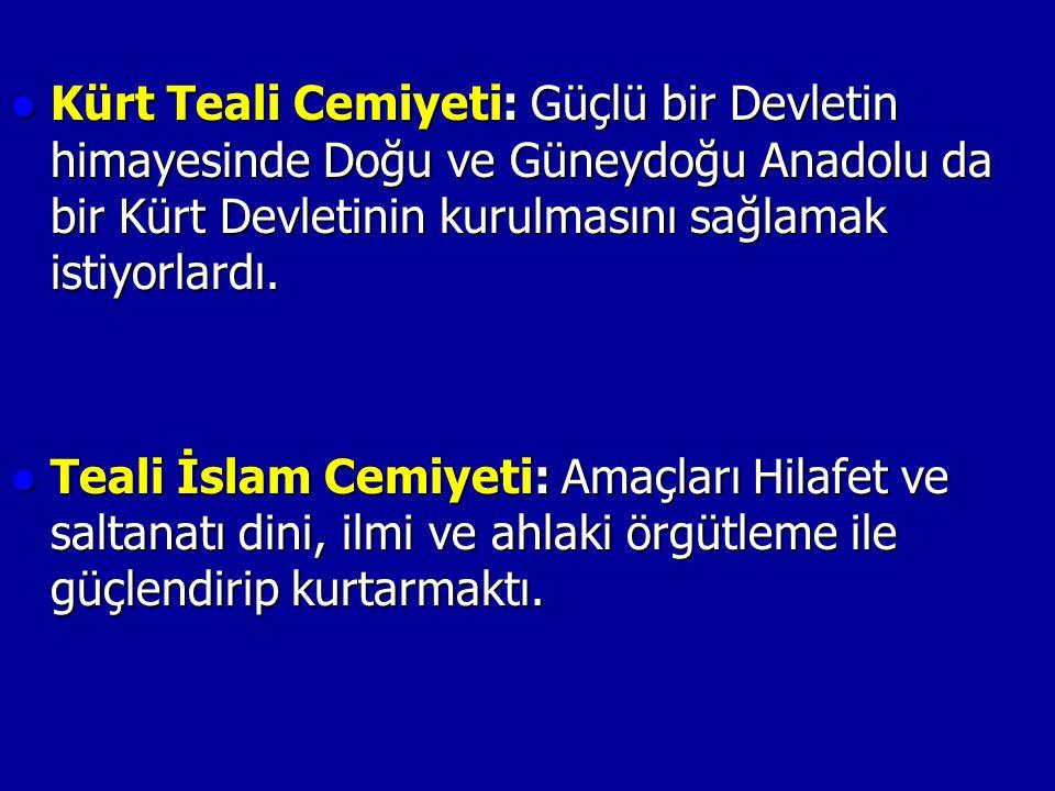 Kürt Teali Cemiyeti: Güçlü bir Devletin himayesinde Doğu ve Güneydoğu Anadolu da bir Kürt Devletinin kurulmasını sağlamak istiyorlardı.