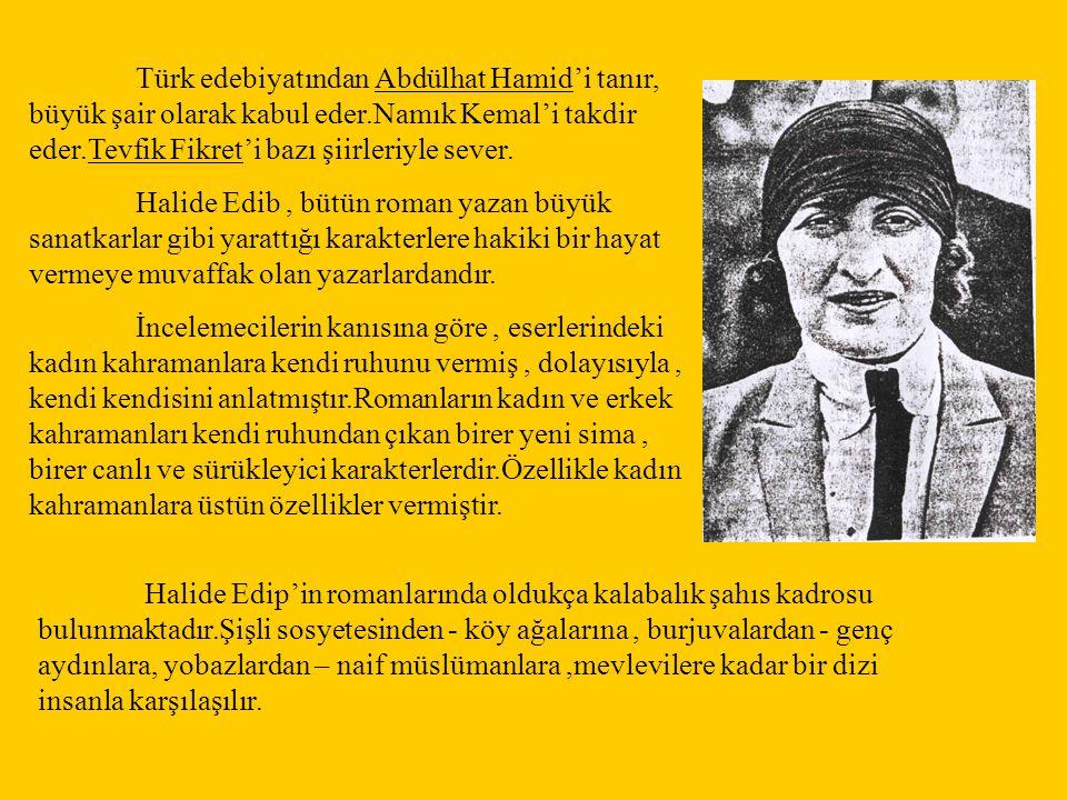 Türk edebiyatından Abdülhat Hamid'i tanır, büyük şair olarak kabul eder.Namık Kemal'i takdir eder.Tevfik Fikret'i bazı şiirleriyle sever. Halide Edib,