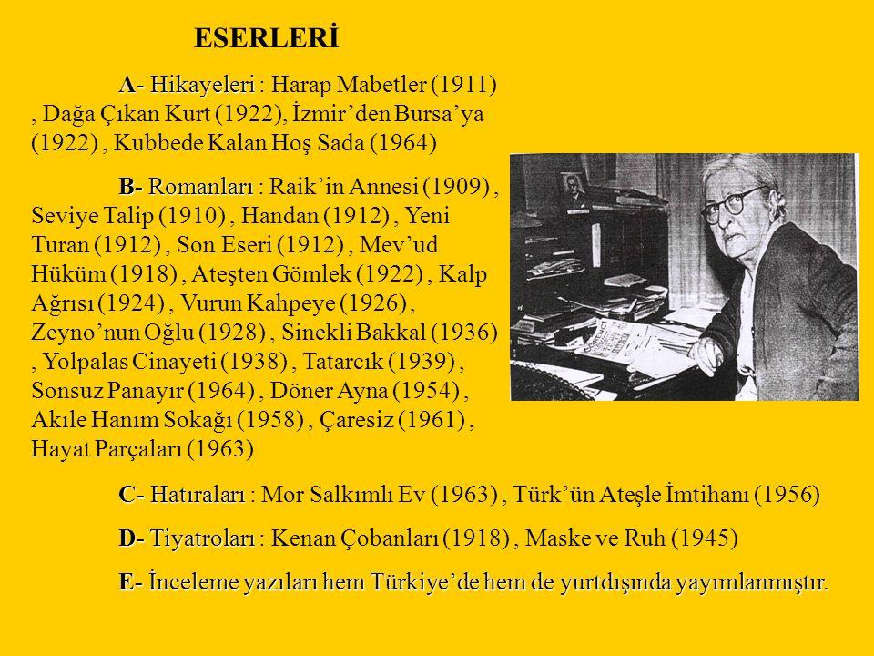 ESERLERİ A- Hikayeleri A- Hikayeleri : Harap Mabetler (1911), Dağa Çıkan Kurt (1922), İzmir'den Bursa'ya (1922), Kubbede Kalan Hoş Sada (1964) B- Roma