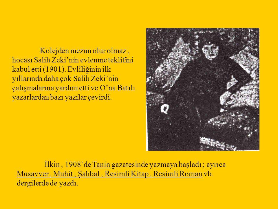 Kolejden mezun olur olmaz, hocası Salih Zeki'nin evlenme teklifini kabul etti (1901). Evliliğinin ilk yıllarında daha çok Salih Zeki'nin çalışmalarına