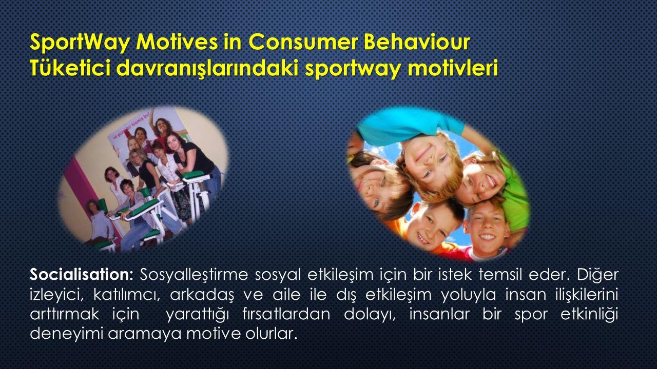 SportWay Motives in Consumer Behaviour Tüketici davranışlarındaki sportway motivleri Socialisation: Socialisation: Sosyalleştirme sosyal etkileşim için bir istek temsil eder.