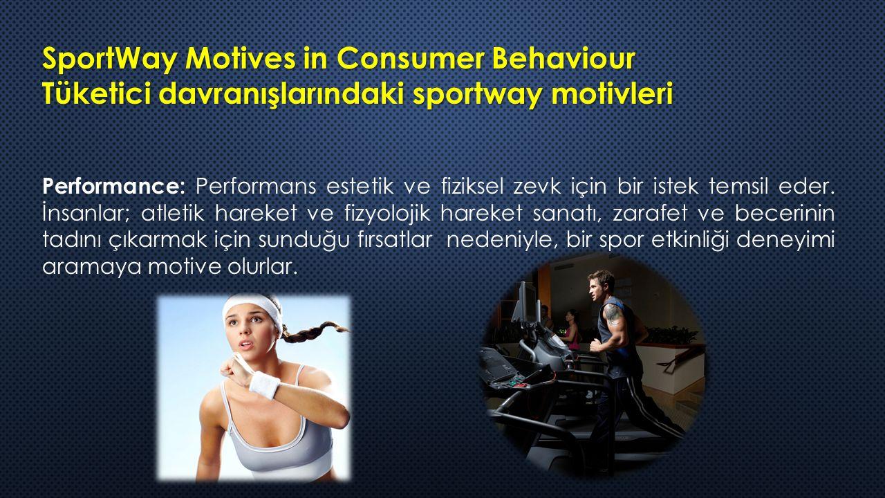 SportWay Motives in Consumer Behaviour Tüketici davranışlarındaki sportway motivleri Performance: Performans estetik ve fiziksel zevk için bir istek temsil eder.